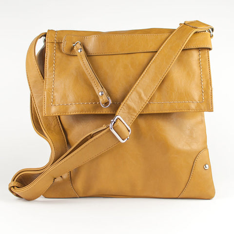 Zip Front Cross Body Purse - Mustard