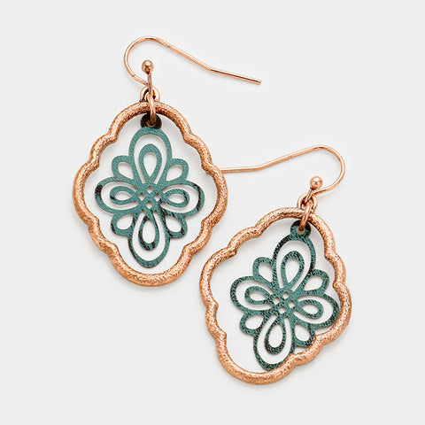 Patina Filigree Dangle Earrings