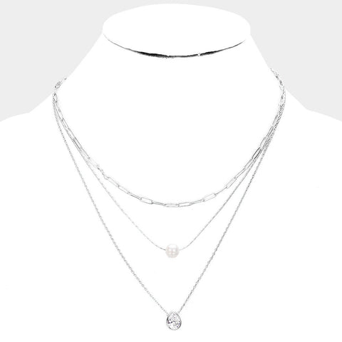 Silver Teardrop Crystal & Pearl Layering Necklace