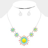 Multi Pastel Floral Necklace & Earring Set