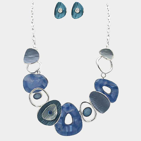 Blue Teardrop Statement Necklace & Earring Set