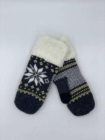 Snowflake Mitten with Fleece Cuff in Grey