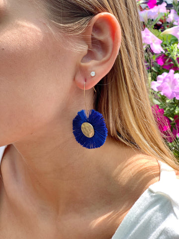 Royal Blue Threaded Fan Earrings