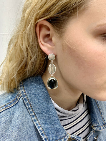 Black Stone Statement Earrings