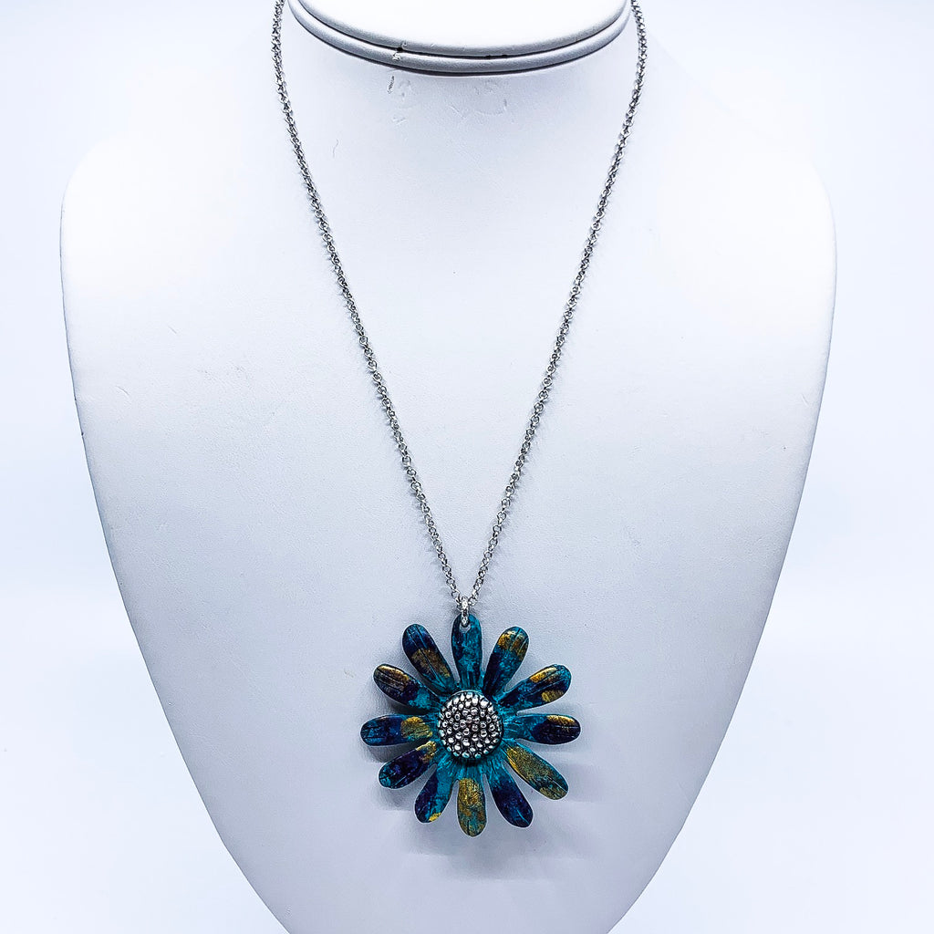 Painted Flower Necklace & Earring Set