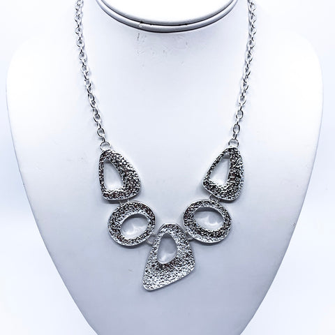 Silver Textured Abstract Shapes Necklace
