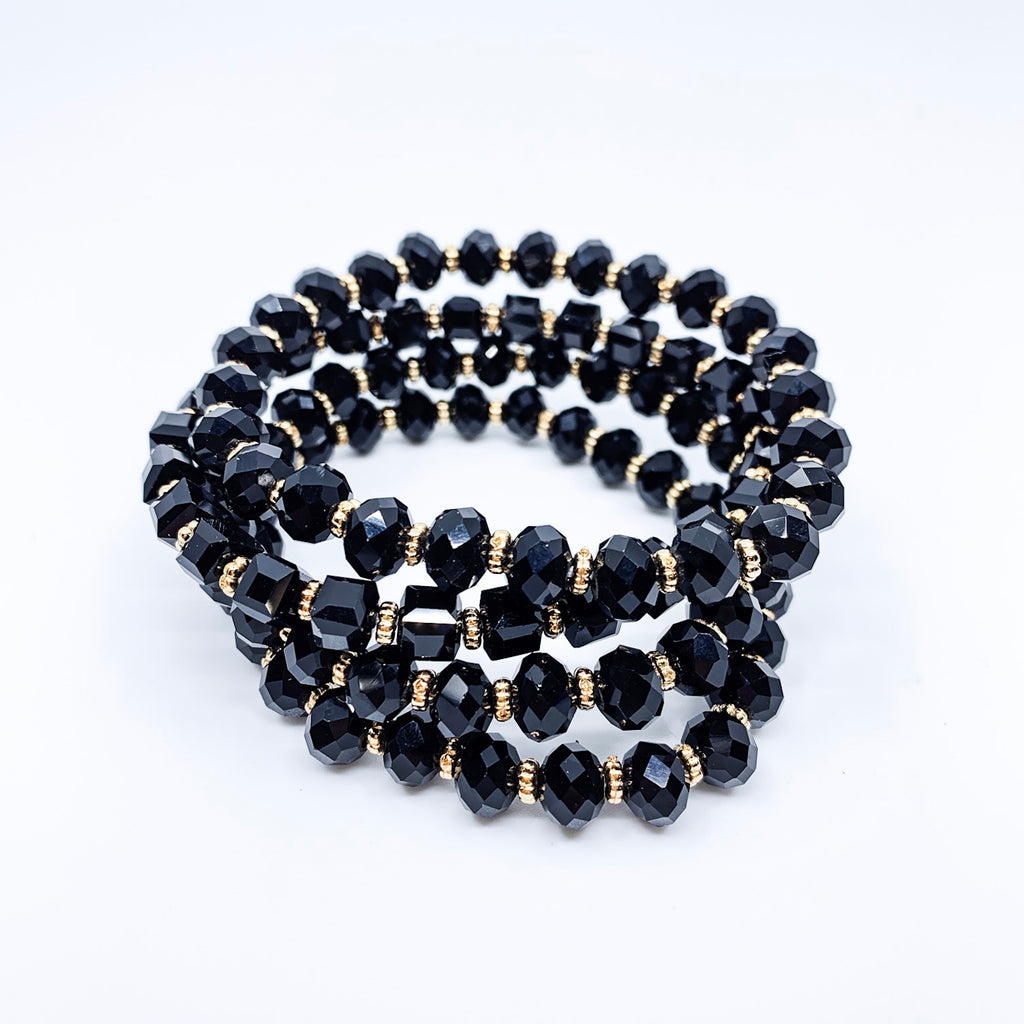 Black 4 Pc Beaded Stretch Bracelet Set