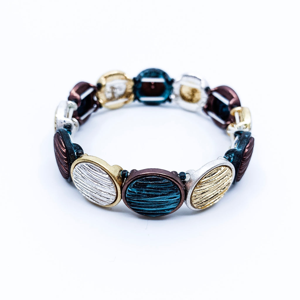 Patina and Mixed Metal Round Stretch Bracelet