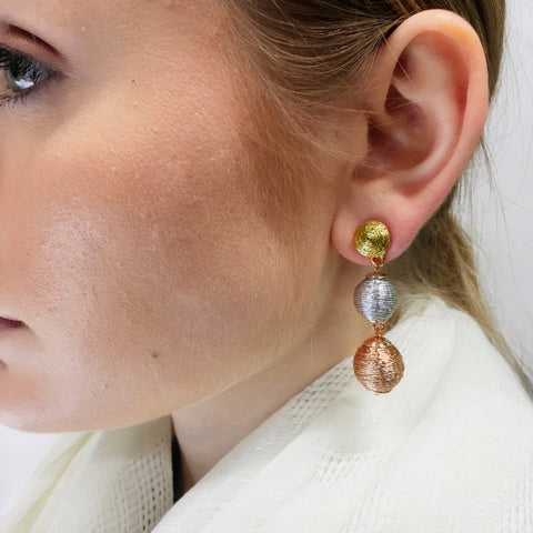 Tri Tone Statement Earrings