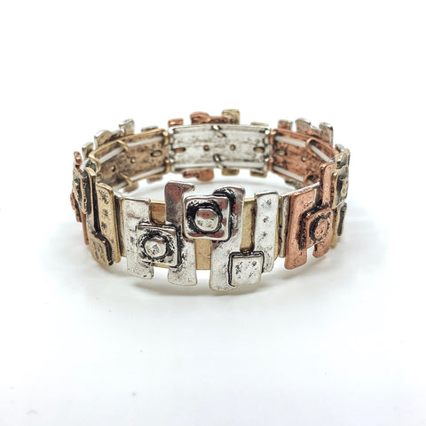 Tri Tone Geometric Stretch Bracelet