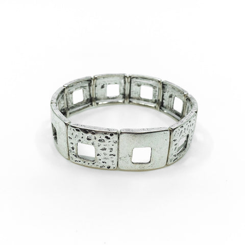 Cut Out Square Medal Stretch Bracelet