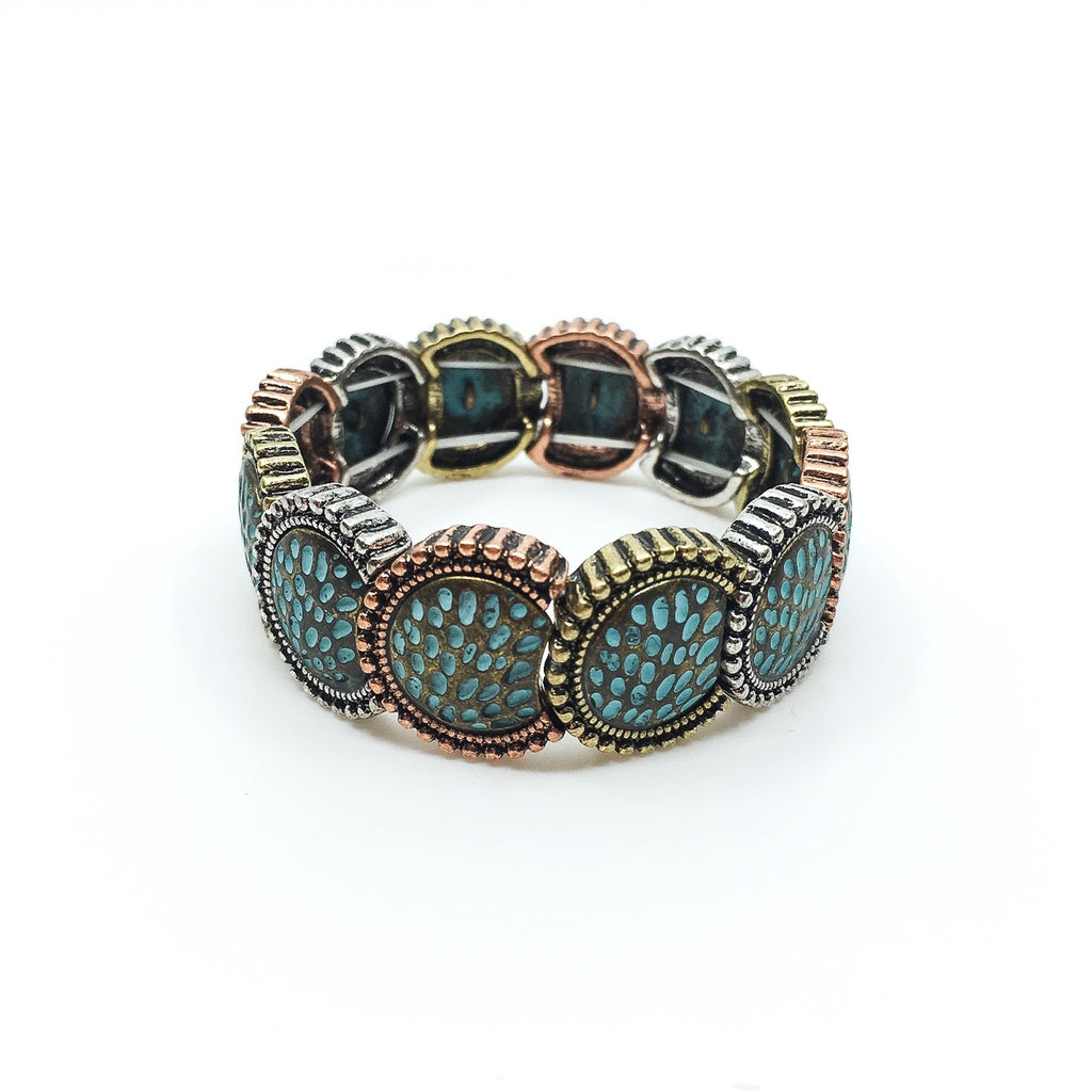 Patina & Mixed Metal Disc Bracelet
