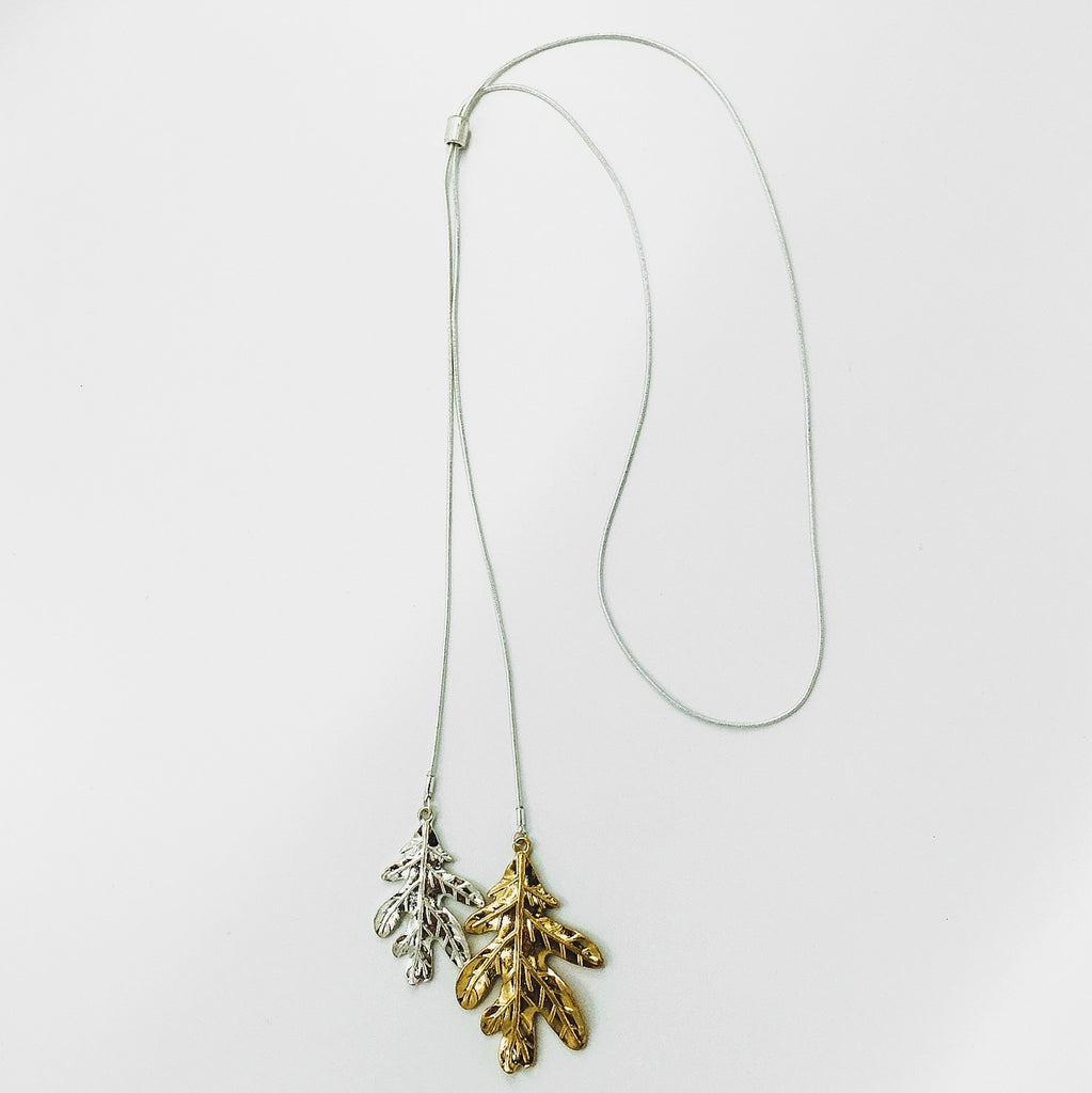Two Tone Metal Leaf Necklace