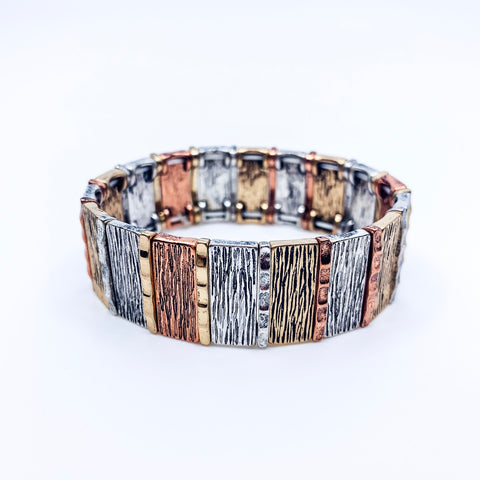 Tri Tone Textured Metal Bar Bracelet