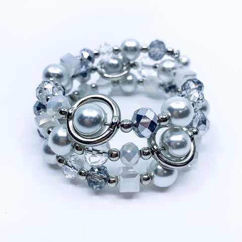 Silver Pearl & Crystal Wrap Around Bracelet