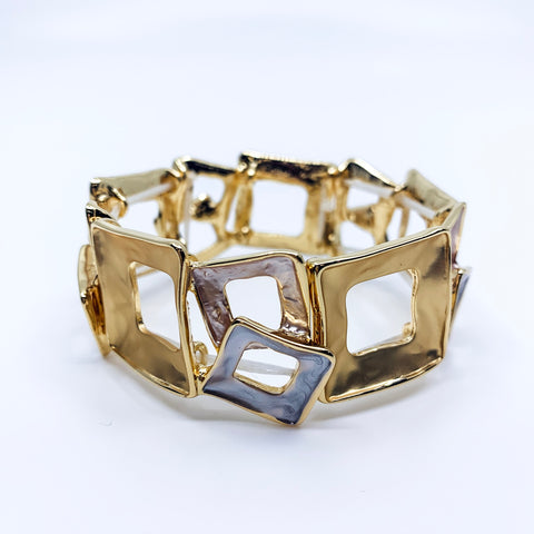 Tri Tone Cut Out Square Bracelet