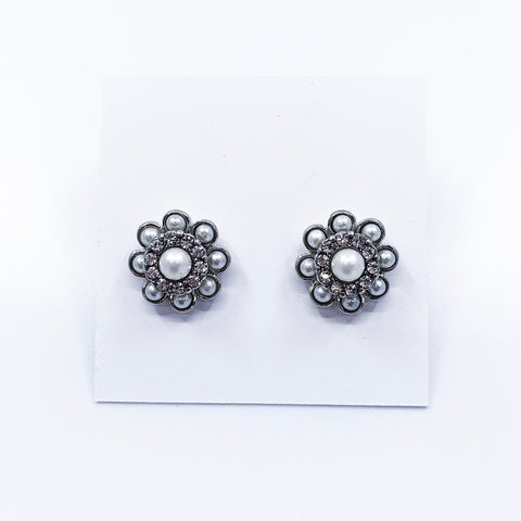 Silver Pearl & Crystal Flower Earrings