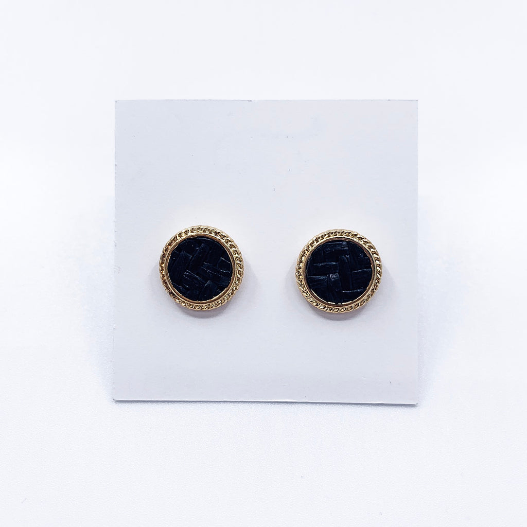 Black Woven Raffia Stud Earrings