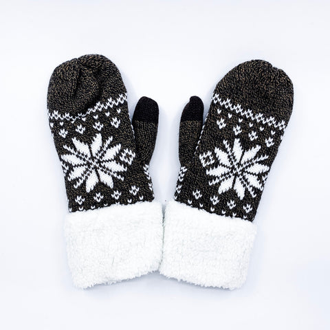 Snowflake Mitten with Fleece Cuff - O/S