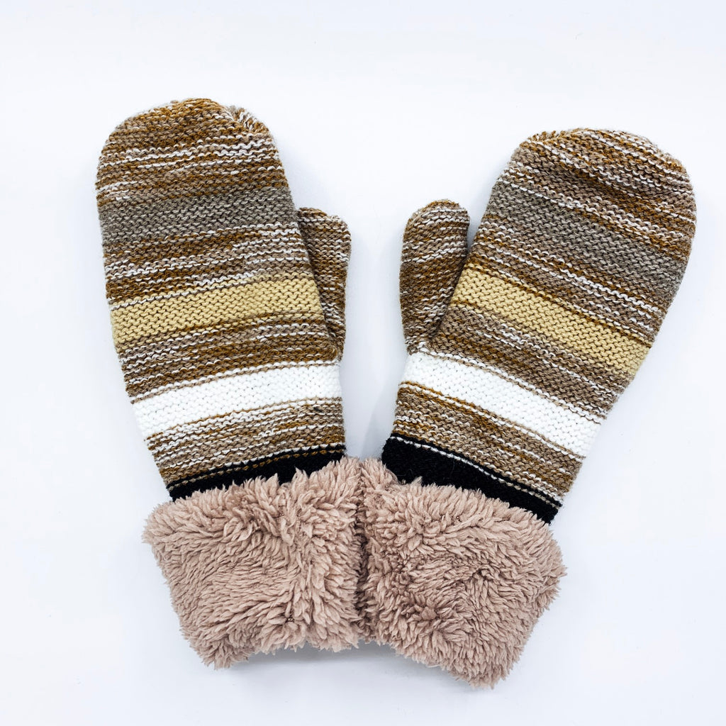 Beige Multi Stripe Mittens with Fleece Cuff - O/S