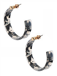Black & Clear Acrylic Hoop Earrings