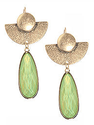 Green Teardrop Translucent Stone Earrings