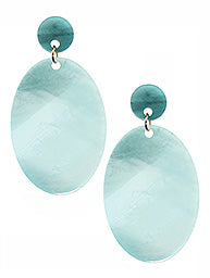 Aqua Acrylic Oval Drop Earrings