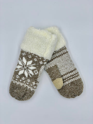 Snowflake Mitten with Fleece Cuff in Tan