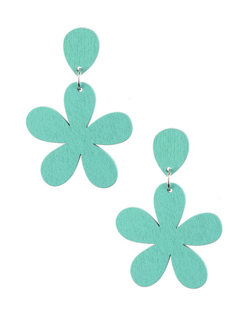 Aqua Wooden Flower Earrings