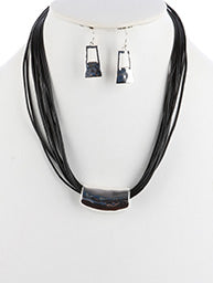 Black Multi Cord Silver Slide Necklace & Earring Set