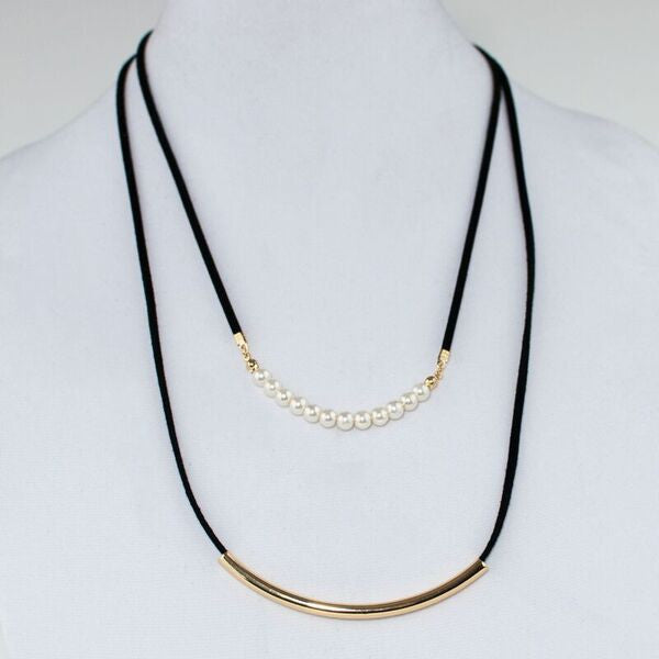 Pearl & Gold Bar Long Layer Necklace