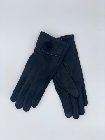 Faux Suede Pom Pom Touch Screen Gloves