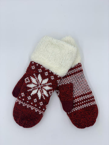Snowflake Mitten with Fleece Cuff in Red