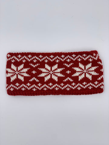 Snowflake Headband in Red & White