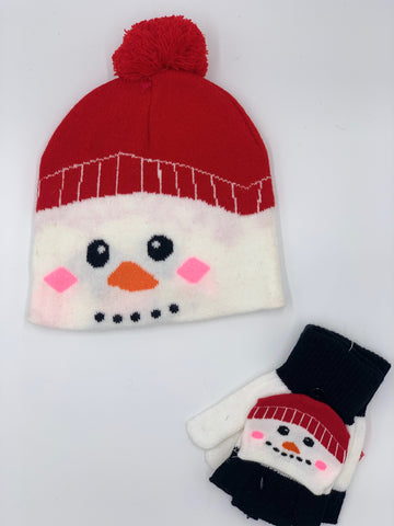 Children's Snowman Hat & Glove Set