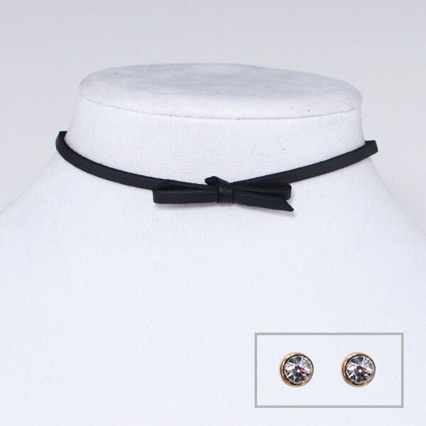 Suede Bow Choker Necklace and Earring Set Black