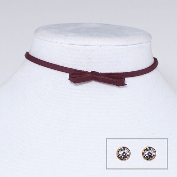 Suede Bow Choker Necklace and Earring Set Burgundy