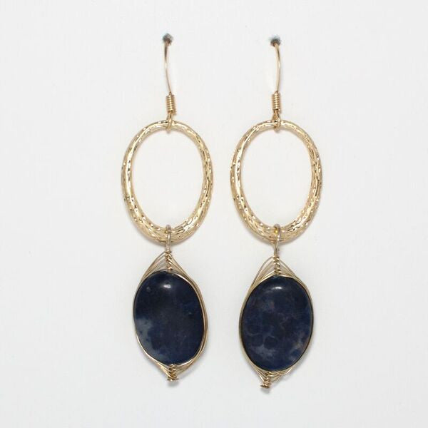 Wrapped Semi Precious Stone Earrings - Lapis
