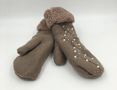 Beige Cable Knit Mittens with Pearl & Rhinestone Embellishment & Fleece Cuff  - O/S
