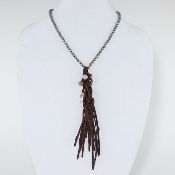Suede Fringe Beaded Necklace