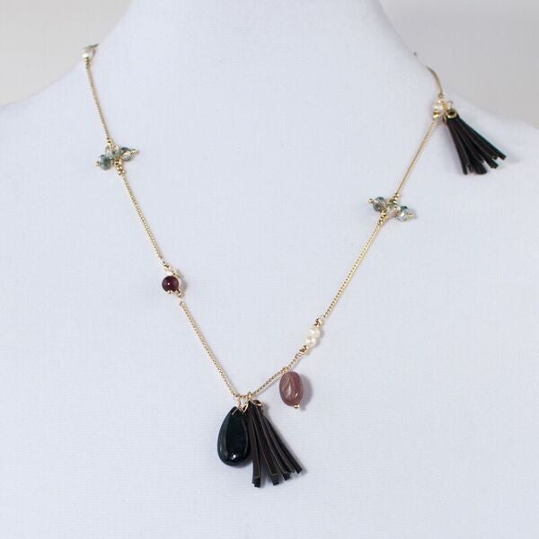 Semi Precious Stone & Tassel Necklace