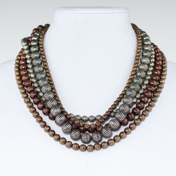 Tri Tone Metal Beaded Statement Necklace