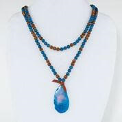 Blue Agate Stone Beaded Necklace