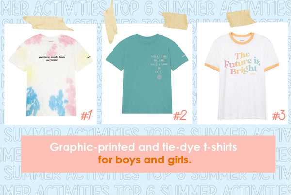kids youth tweens graphic printed and tie dyed t-shirts