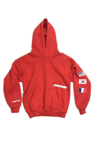 Red Worldwide Flag Hoodie - Port 213.com