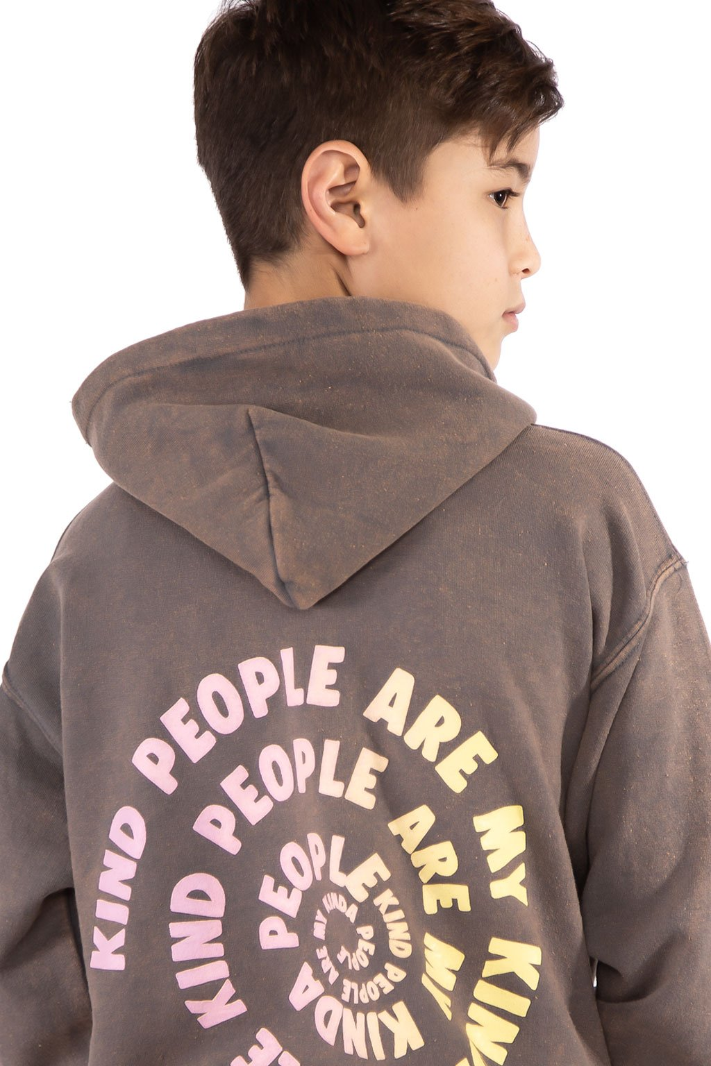 Vintage Charcoal Grey Kind people Hoodie - Port 213.com