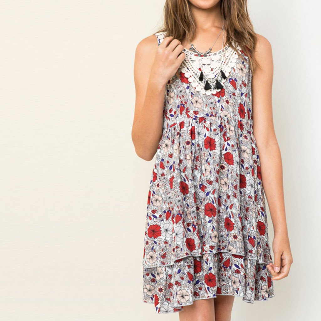 Girls Floral Flare Dress Black (7-14 yrs) - Port 213.com