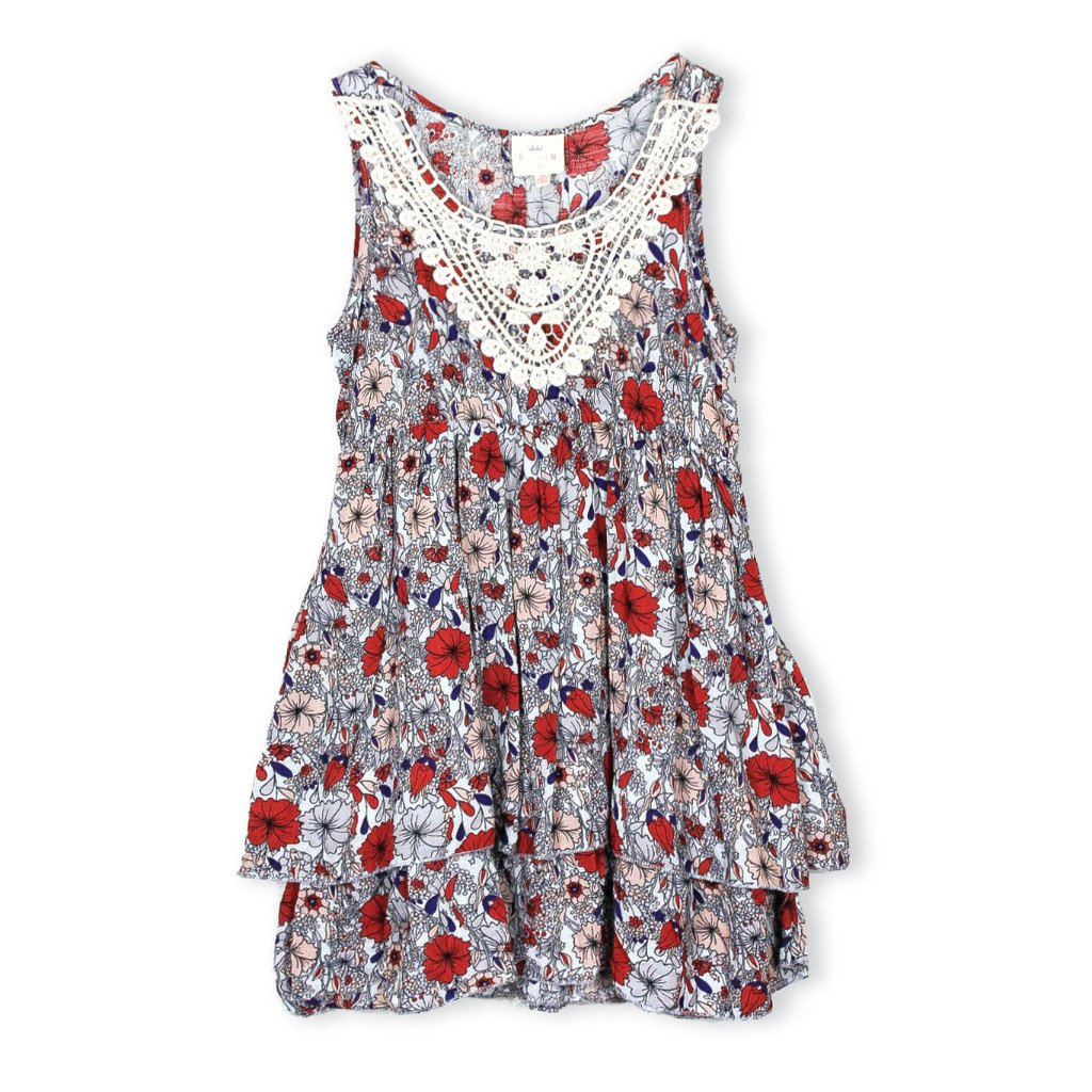 Girls Floral Flare Dress Grey (7-14yrs) - Port 213.com