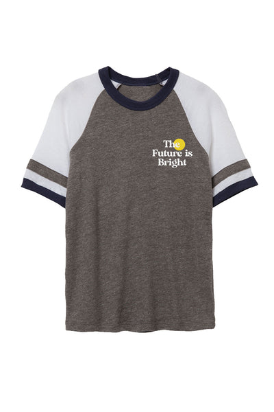 Grey Retro Raglan Sleeve T-shirt