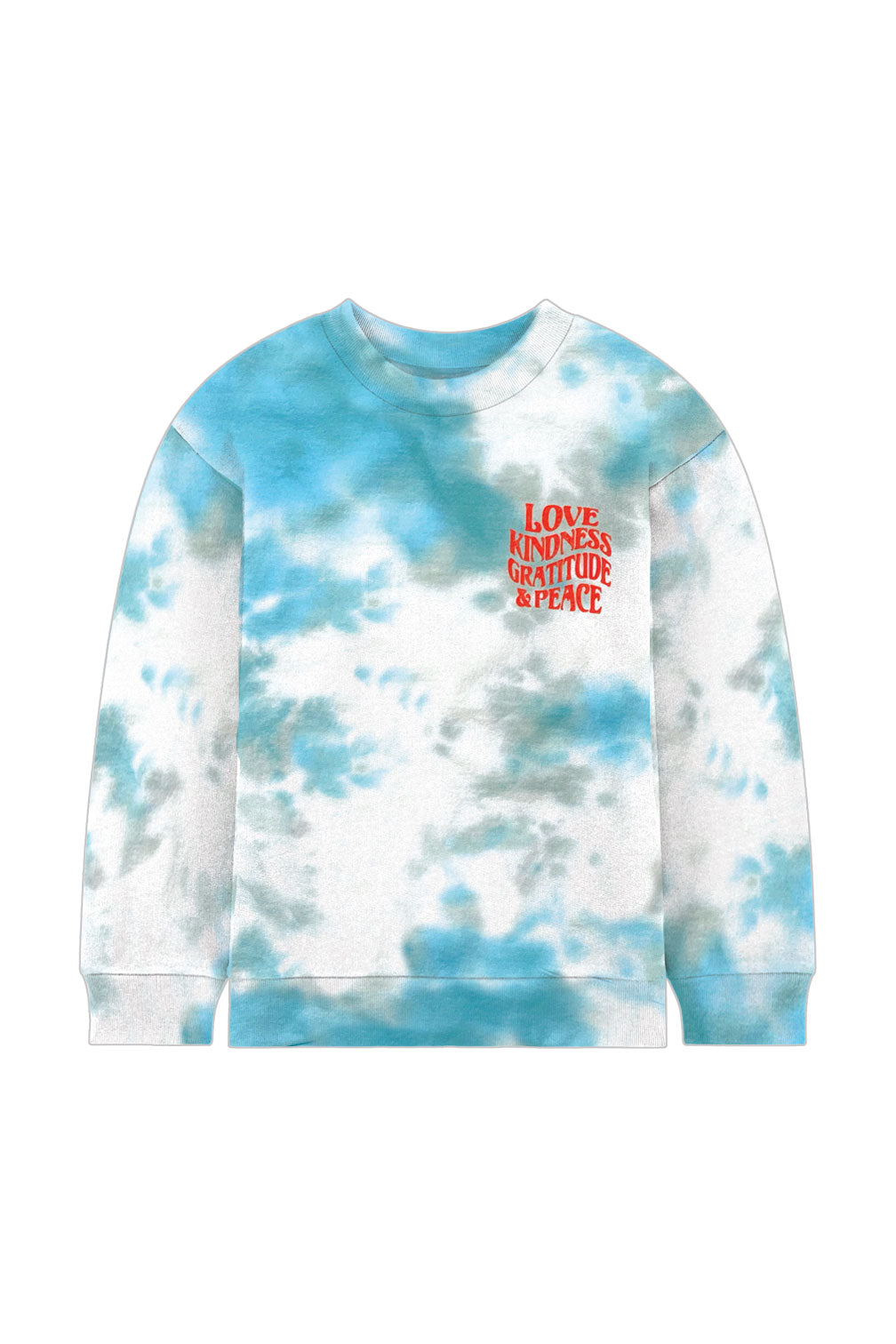 Teal Love Kindness Tie-Dye Crew Neck Sweatshirt